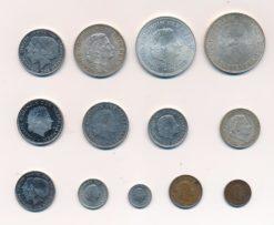 Nederland complete set 1 cent tm 10 Gulden Juliana van elk type 1x