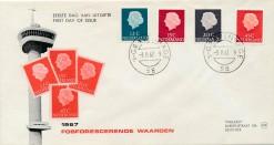 Nederland 1967 FDC Frankeer Juliana fosfor 12, 15, 20 en 45 c W9