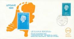 Nederland 1969 FDC Frankeer Juliana Regina 2,50 gld W15