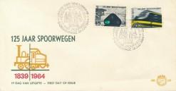 Nederland 1964 FDC 125 jaar Spoorwegen onbeschreven E65