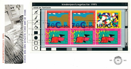 Nederland 1995 FDC Blok Kinderzegels onbeschreven E343A 1