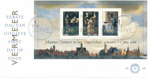 Nederland 1996 FDC Blok Vermeerzegels onbeschreven E345A 1