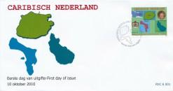Caribisch Nederland  2010 FDC Wapen, vlag en landkaart E 1