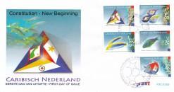 Caribisch Nederland  2011 FDC Constitutie - een nieuw begin, vissen met vlaggen E 2