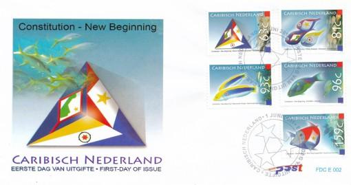 Caribisch Nederland  2011 FDC Constitutie - een nieuw begin, vissen met vlaggen E 2 1