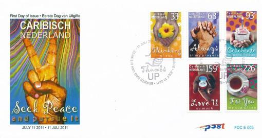 Caribisch Nederland  2012 FDC Groet- en wenspostzegels E 3 1