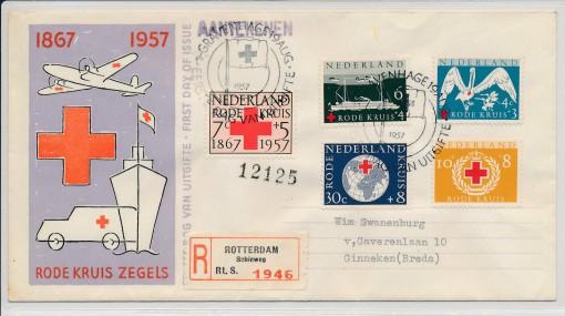 Nederland 1957 FDC Rode Kruis met getypt adres  E31 1