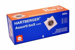 Hartberger Assortie-box met 500x zelfklevende munthouders EURO-maten