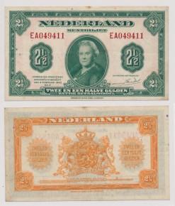Nederland 1943 2,5 Gulden muntbiljet Wilhelmina