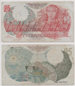 Nederland 1947 25 Gulden bankbiljet Flora