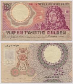 Nederland 1955 25 Gulden bankbiljet Huygens