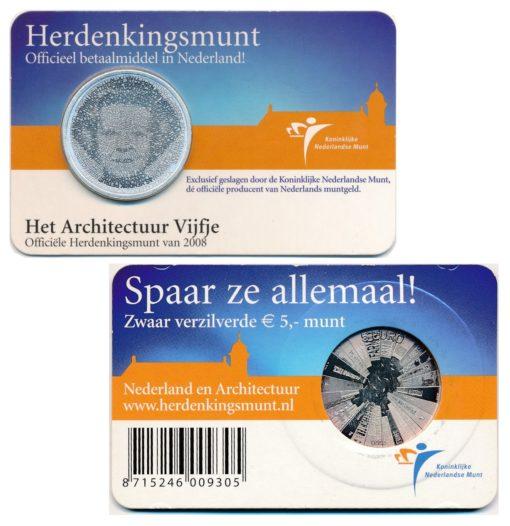 43991 Nederland 2008 5 Euro Architectuur coincard