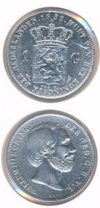 Nederland 1855 1 Gulden Willem III