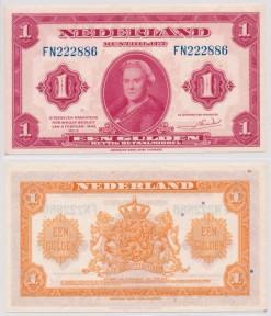Nederland 1943 1 Gulden muntbiljet Wilhelmina