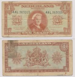 Nederland 1945 1 Gulden muntbiljet Wilhelmina
