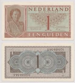 Nederland 1949 1 Gulden muntbiljet Juliana