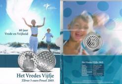 Nederland 2005 Vredes vijfje 5 euro zilver, proof in blister