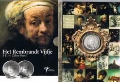 Nederland 2006 Rembrandt vijfje 5 euro zilver, proof in blister