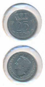 Nederland 1948 25 cent No 10 Juliana met brede rand