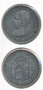 Spanje 1891 5 pesetas