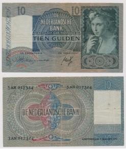 Nederland 1940 10 Gulden bankbiljet Meisje met druiven