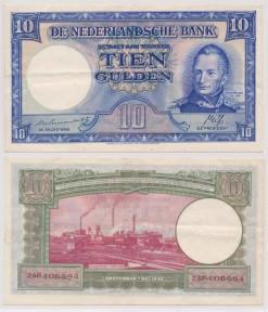 Nederland 1945 10 Gulden bankbiljet Wilem I Staatsmijnen