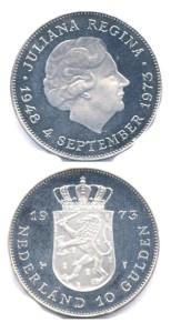 Nederland 1973 10 Gulden zilver Juliana