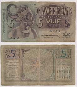 Javasche bank 1936 5 Gulden bankbiljet
