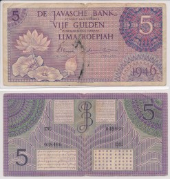 Javasche bank 1946 5 Gulden bankbiljet