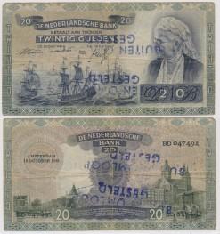 Nederland 1939 20 Gulden bankbiljet Emma buiten omloop gesteld