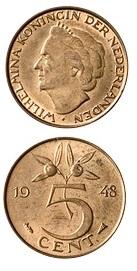 Nederland 1948 5 cent Wilhelmina