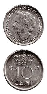 Nederland 1948 10 cent Wilhelmina