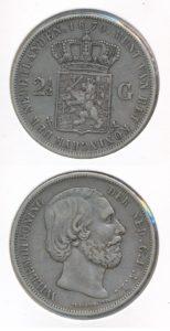 Nederland 1870 2,5 Gulden Willem III