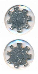 Nederland 10 cent No 6 Juliana bewerkt tot ninja munt