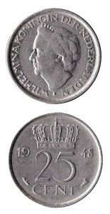 Nederland 1948 25 cent Wilhelmina