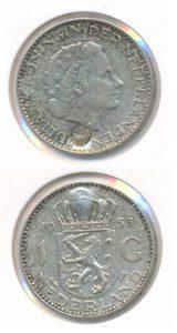 Nederland 1955 1 Gulden zilver 750 jaar Wouw No7 Juliana met klop