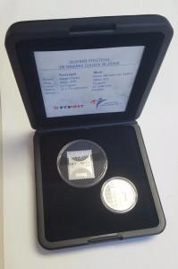 Nederland 2001 zilveren postzegel en 1 gulden in doosje