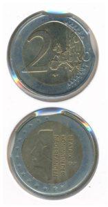 Nederland 2001 2 euromunt No 9 Beatrix rariteit