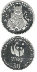 WWF 1986 panda zilveren penning