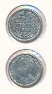 Nederland 1911 25 cent Wilhelmina
