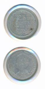 Nederland 1913 25 cent Wilhelmina