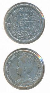 Nederland 1916 25 cent Wilhelmina