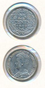 Nederland 1917 25 cent Wilhelmina