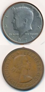 Verenigde Staten en Groot Brittannie 0,5 dollar en penny bewerkt tot unieke rariteit