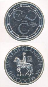 Nederland 1988 1OZ zilveren penning ECU