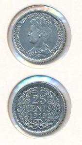 Nederland 1919 25 cent Wilhelmina