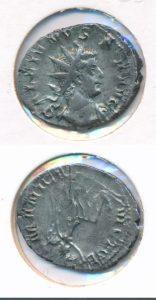 Romeinse zilveren munt Gallienus 253-268