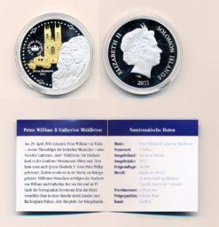 Engeland penning prins William verzilverd en verguld met 3 witte swarovski kristallen