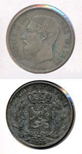Belgie 1868 5 franc