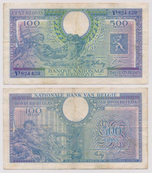 Belgie 1943 500 Francs bankbiljet 1
